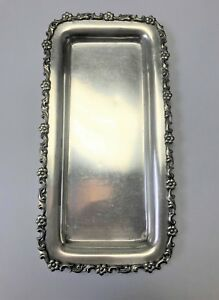 Tiffany Co Sterling Silver Floral Jewelry Tray Antique Marked