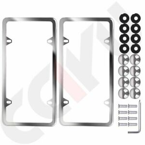 2x Slim Silver Stainless Steel License Plate Plate Frame A Set Of Screw Package