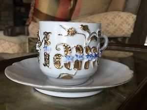 Antique Germany Mama Tea Cup Raised Gold Encrusted Mug W Underplate