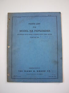 Ih Hough Ha Front end Wheel Pay Loader Tractor Parts Catalog Manual List Book 54