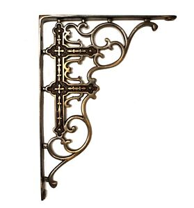 Victorian Shelf Brackets Corbels Age Bronze Vintage Old Style Reproductions Pair