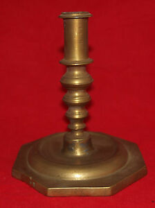 Antique 17th 18th Century Spanish Continental Brass Candlestick Knobbed Stem