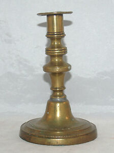 Antique Period Brass Bell Metal Single Candlestick Beaded Round Base