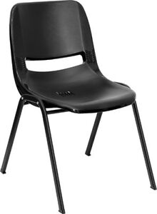 Lot 80 Black High Impact Plastic Stack Classroom Chairs
