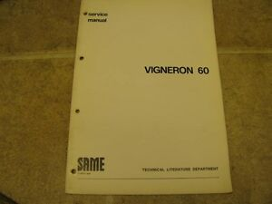 Same Tractor Vigneron 60 Service Manual Repair