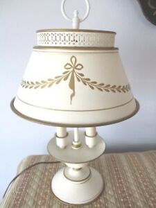 Antique Off White Double Light Metal Table Desk Reading Lamp Gold Paint Accents