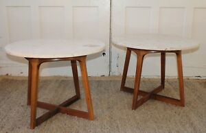 Pair Mid Century Modern X Base End Tables Fossilized Travertine Kagan Pearsall