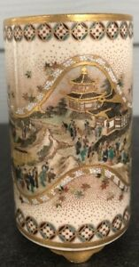 Japanese Meiji Satsuma Temple Pilgrimage Miniature Footed Vase