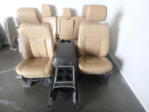 2011 2016 Ford F250 F350 Front Rear Seat Set Tan Leather Lariat Heated Cooled
