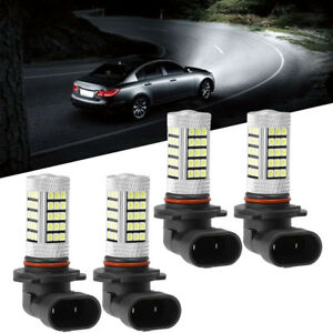 4pcs 9005 Hb3 9006 Hb4 Led Headlight Bulb White Light 63 Smd 6000k Hi Lo Beam