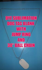 Aluminum Dye Sublimation Dog Tag Blanks 100pc Lots With 30 Ball Chain