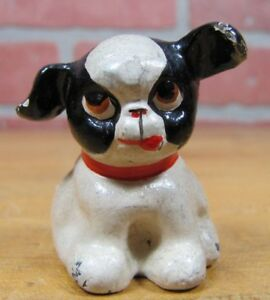 Old Cast Iron Fido Dog Paperweight Decorative Statue Small Childs Toy Up Ears