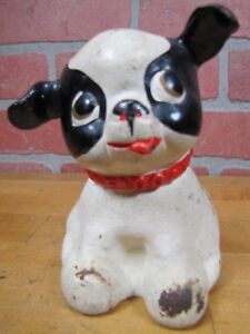 Old Cast Iron Fido Dog Figural Still Piggy Bank Childs Toy Orig Old Paint