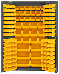 Durham 3501 bdlp 135 95 Storage Cabinet With 132 Yellow Bins 24 x36 x72
