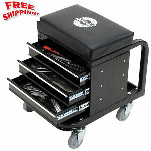 Mechanics Rolling Creeper Seat Tool Box Chest Storage Stool Chair Roller Shop