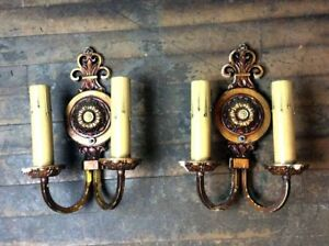 Antique Brass Two Candle Polychrome Sconce