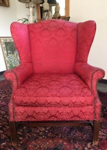 Antique Victorian Red Damask Upholstered Tack Studded Wing Back Chair