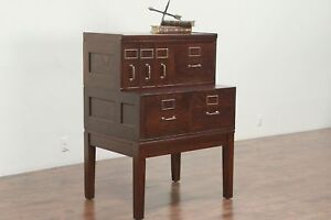 Oak 6 Drawer Antique Stacking Office Or Library File Cabinet Yawman 29170