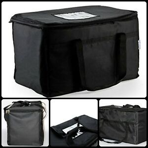 Water Repellent Nylon Exterior Insulated Nylon Food Carrier Delivery Bag Black