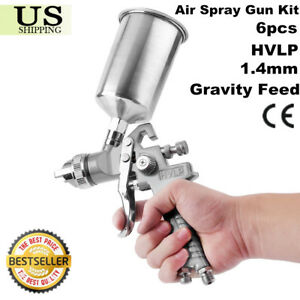 1 4mm Gravity Feed Hvlp Air Spray Gun Kit Aluminum Cup Auto Paint Primer Sw 6pcs