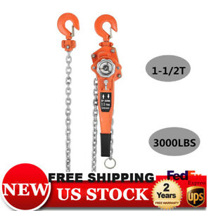 1 5 Ton 3000lbs Portable Lever Block Chain Hoist Ratchet Comealong Puller Lifter
