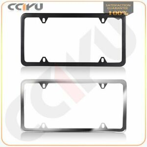 2pcs Silver Black Stainless Steel License Plate Frame Cover With Screw Package
