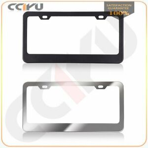 2pcs Chrome Black 2 4 Holes Stainless Steel Metal License Plate Frame Tag Cover