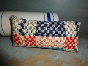 Small Vintage Wool Red Blue Coverlet Pillow Primitive Americana Handmade