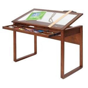 Drafting Table Office Workspace Glass Tilting Top Desk Wood Frame Sonoma Brown
