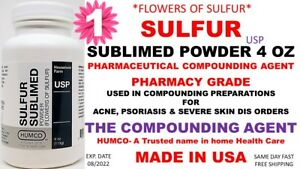 Humco Sulfur Sublimed Powder Usp 4 Oz flowers Of Sulfur Exp Date 08 2022 1