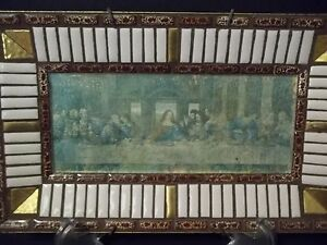 Religious Mid Century Last Supper Gold Metal Mosaic Wall Hanging 7 X 12 1960 S