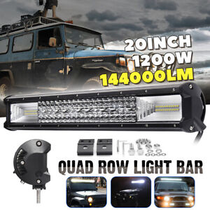20 Inch Quad row Led Work Light Bar Combo Offroad Driving Lamp Car Trucks Boat