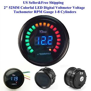 Us 2 52mm Colorful Led Digital Voltmeter Voltage Tachometer Rpm Gauge 1 8 Cylin