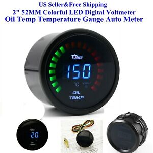 Us 2 52mm Colorful Led Digital Voltmeter Oil Temp Temperature Gauge Auto Meter