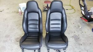 2005 Corvette C6 Black Ebony Leather Sport Seats Nice Used No Heat