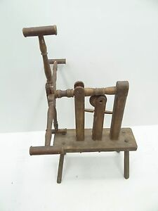 Antique Old Primitive Decorative Spinning Thread Weaving Stand Stool Yarn Winder