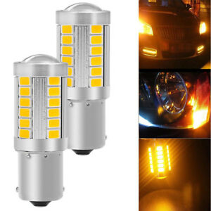 Amber Yellow 1156 Bau15s Led Bulbs For Backup Turn Signal Stop Lights Fits Honda
