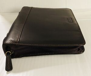 Classic Brown Full Grain Leather Franklin Covey Planner Binder With Pull Handle