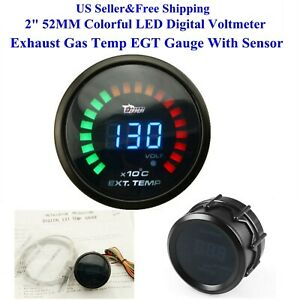 Us 2 52mm Colorful Led Digital Voltmeter Exhaust Gas Temp Egt Gauge With Sensor