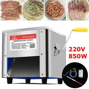 220v 850w Commercial Stainless Steel Meat Cutting Machine Tool Cutter Slicer New
