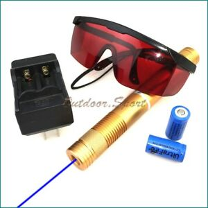 Gbe4 2w 450nm Adjustable Focus Blue Laser Pointer Burn Matches Light Cigarettes
