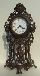 Antique Bronze Patinated Spelter Art Nouveau Clock With Maiden 1900 Germany 16