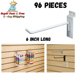 6 Inches Panel Display Hooks Racks Hanging Slatwall Hooks White Pack Of 96 New