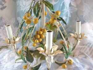 Antique Tole French Or Italian Cut Metal Painted Apricot Fruit Chandelier Light