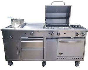 New Food Cart 72 All In One Griddle Fryer Oven Grill Drawer Made In Usa