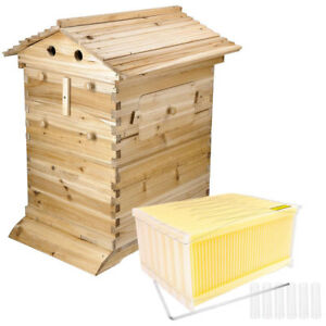 Beehive House Wooden Box With 7pcs Auto Flow Honey Hive Frames Beekeeping Kit