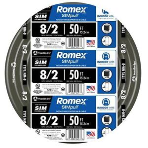 Southwire 50 Ft 8 2 Stranded Romex Simpull Cu Nm b W g Wire 28893622