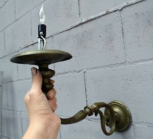 Antique Large Arm Single Candle Wall Sconce
