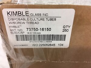 Kimble 16 X 150 Mm Culture Tubes With Screw Threads Lot Of 3 Cases X 250 Tubes