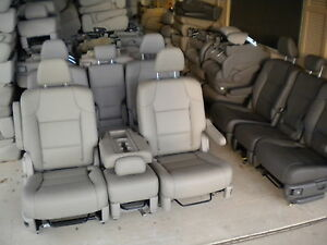 New Takeouts Tan Leather 2 Bucket Seats Middle Seat Truck Van Bus Hotrod Rv